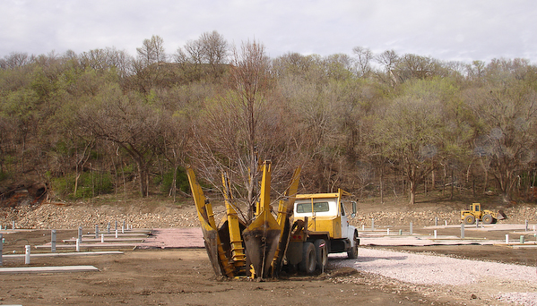 Landscaping Rock Yankton Sd : Adding the final landscaping trees and sod